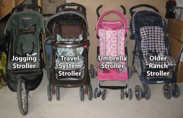 Here are the four strollers I have for Busy Toddler.