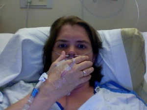 Here I am with my IV and the oxygen tube over my nose. Don't I look great?
